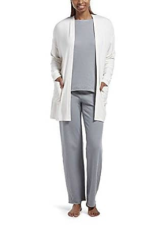 Hue Womens Cozy Cardigan Robe with Pockets, Off Off White, L/XL