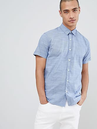 Selected Blå kortärmad skjorta i chambray-tyg - Mellanblå denim 24c82cb3e157a