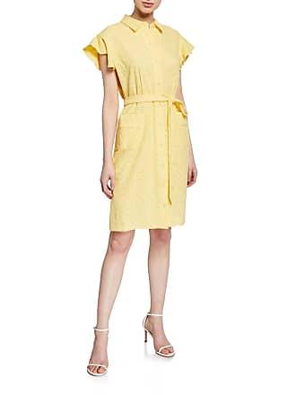 Iconic American Designer Cap-Sleeve Eyelet Belted Shirtdress