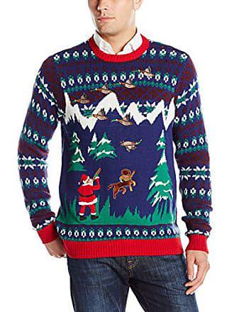 Blizzard Bay Mens Duck Hunter Santa Ugly Christmas Sweater, Navy/Green/Red, Medium