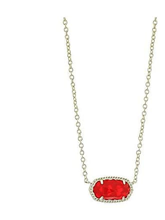 Kendra Scott Elisa Birthstone Necklace (July/Gold/Ruby Red Clear Glass) Necklace