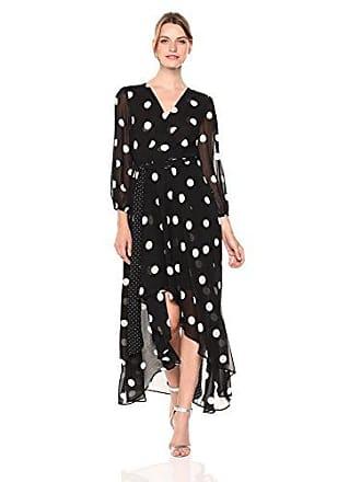 Eliza J Womens Long Sleeve Polka Dot Maxi Dress, Black/White, 14