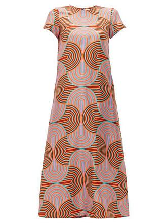 La DoubleJ La Doublej - Swing Scallop Print Silk Dress - Womens - Pink Multi