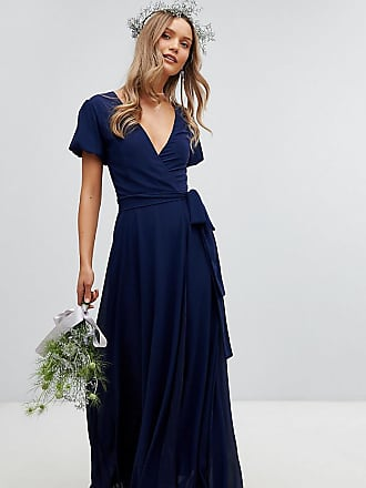 Tfnc Wrap Maxi Bridesmaid Dress With Tie Detail And Puff Sleeves - Navy