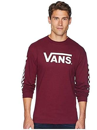 Vans Classic Checks Long Sleeve T-Shirt (Burgundy) Mens Long Sleeve Pullover cf2884953