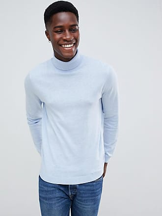 Asos cotton roll neck sweater in pale blue - Blue