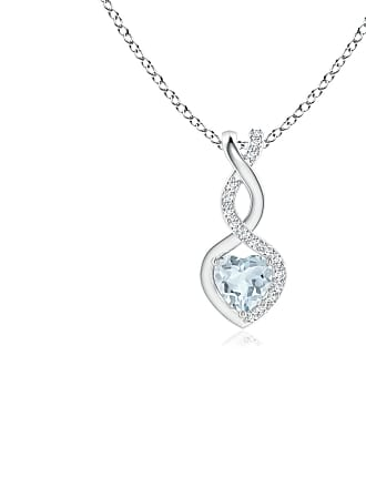 Angara Valentine Day Sale - Aquamarine Infinity Heart Pendant with Diamonds