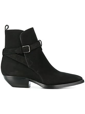 Saint Laurent Ankle boot de couro e camurça Theo 40 - Preto
