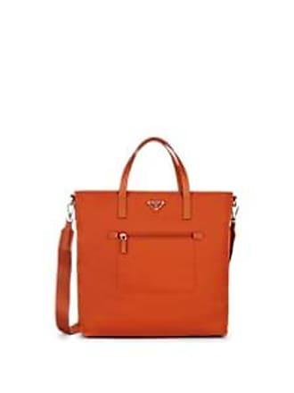 bd895d0f004 Prada Womens Leather-Trimmed Shopping Tote Bag - Papaya