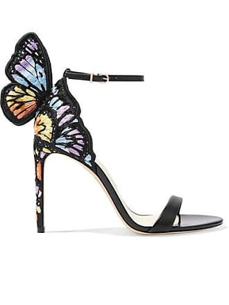 f0c88342102b Sophia Webster Chiara Embroidered Satin And Leather Sandals - Black