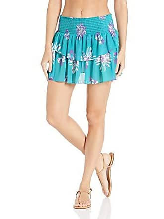 Ramy Brook Womens Floral Printed Lucia Skirt, Turquoise Combo, Small