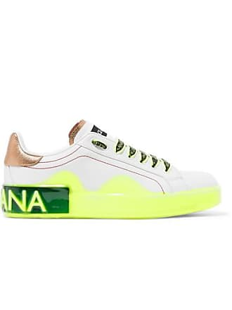 40090688 Dolce & Gabbana Logo-embellished Metallic-trimmed Leather Sneakers - White