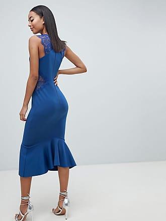 4616e55abc3 Asos Tall ASOS DESIGN Tall scuba lace insert pephem midi dress - Blue