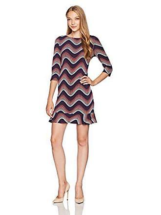 Sandra Darren Womens 1 Pc Petite 3/4 Sleeve Printed Wave Puff Ity Dress, Burgundy/Navy/Neutral 12P