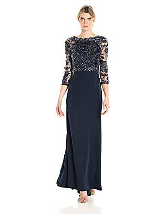 668e77ee6c3d4 Tadashi Shoji Womens 3/4 Sleeve Embroidered Lace and Sequin Gown,  Navy/Silver