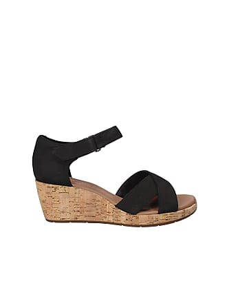 f4bd3a074ced6a Clarks Un Plaza Cross Womens Wide-Fit Wedge Sandals 4 Black