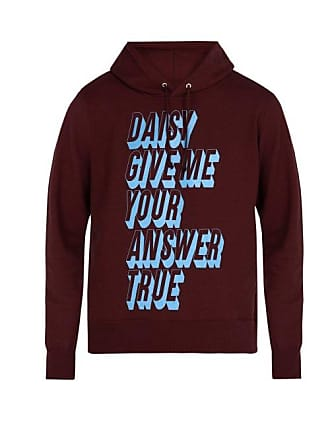 Undercover Daisy Daisy Hooded Cotton Sweatshirt - Mens - Burgundy