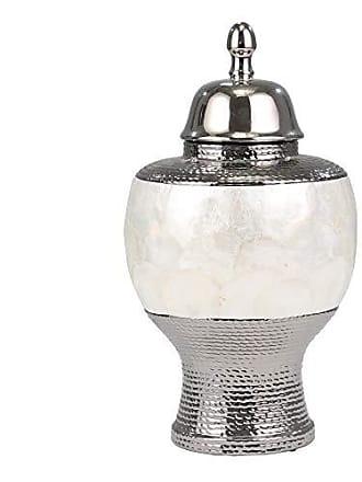 Sagebrook Home 11350 Ceramic Pearl Rotund Covered Jar, Silver/White Ceramic, 8.75 x 8.75 x 16 Inches