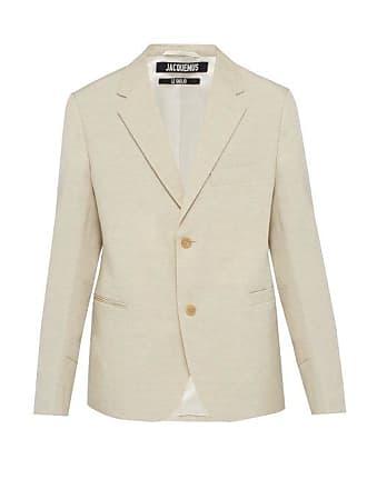 Jacquemus Single Breasted Linen Blend Blazer - Mens - Beige