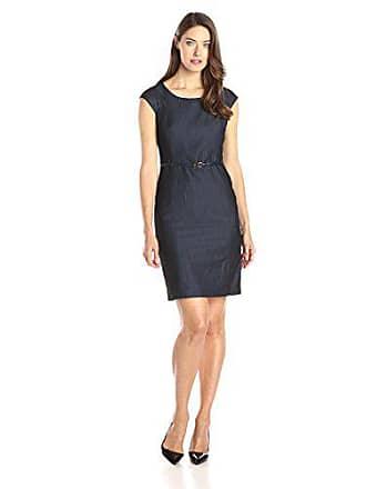 Jones New York Womens Brook Denim Cap-Sleeve Dress, Navy Coral, 12