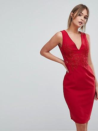 403fe1d64158 Little Mistress Plunge Front Lace Applique Bodycon Dress - Red