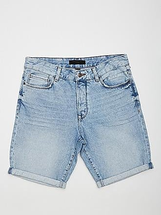21 Men Cuffed Denim Shorts at Forever 21 Light Denim