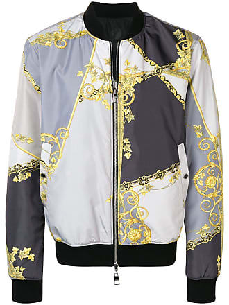 Versace Collection baroque print bomber jacket - Grey