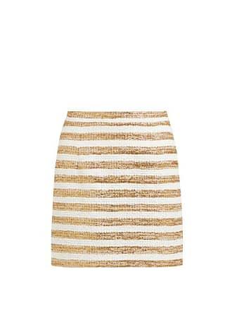 Alessandra Rich High Rise Striped Tweed Mini Skirt - Womens - White Gold