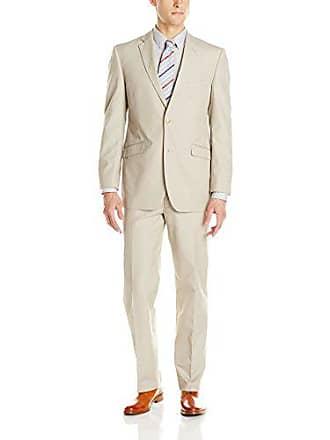 U.S.Polo Association Mens Two Button Nested Solid Cotton Suit, Khaki, 42 Short