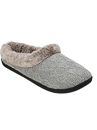 05182ea848e0 Dearfoams Womens Sweater Knit Clog Slipper with Frosted Pile Cuff Lt Grey  Heather XL