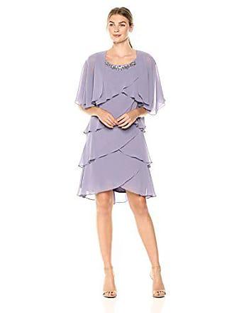 2ad0d1b04e9 S.L. Fashions Womens Chiffon Tier Jacket Dress with Bead Neck