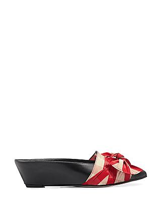 Trademark Adrien Gingham Tie Pointy Mules Red/white