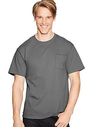 49ab2cf45d89 Hanes Mens TAGLESS Pocket Short-Sleeve T-Shirt Charcoal Heather 2XL