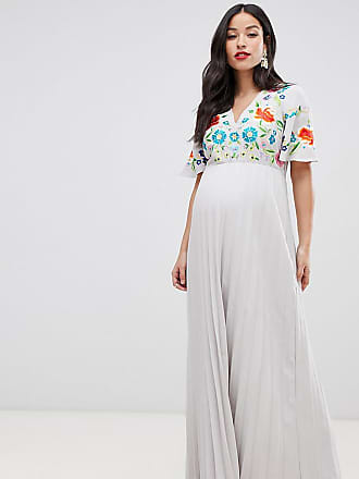 3a92d3d3655 Asos Maternity ASOS DESIGN Maternity pleated embroidered maxi dress