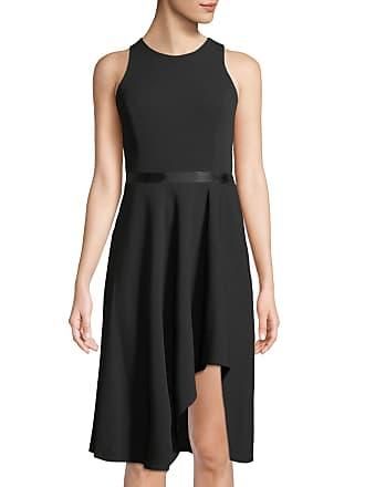 Iconic American Designer Sleeveless Ribbon-Waist High-Low Dress