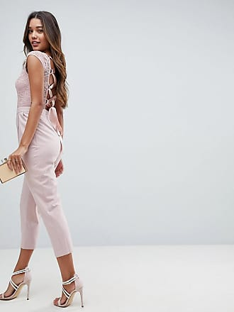 02f748255c6b Asos ASOS Lace Top Jumpsuit with Lattice Back - Pink