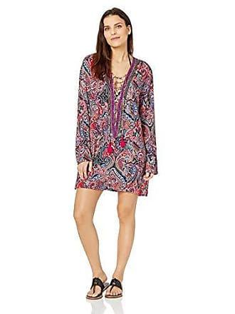 La Blanca Womens Lace Front Cover Up Tunic Dress, Swirlin Around, Large