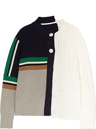 sacai Paneled Cable-knit Cotton-blend Cardigan - White