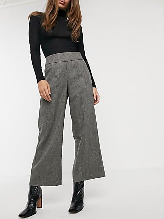 Y.A.S tailored trouser with wide leg in grey herringbone-Multi