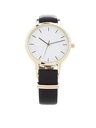 Forever 21 Forever 21 Round Face Faux Leather Watch Black/white