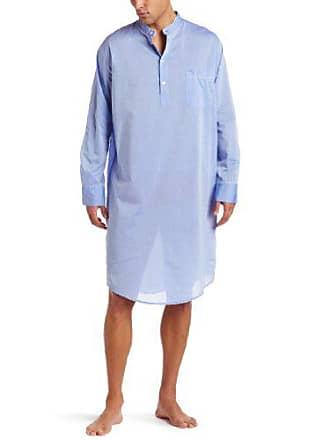 Derek Rose Mens Amalfi Night Shirt, Blue, X-Large