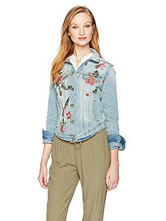 William Rast Womens Sussex Denim Jacket, Hamilton/Floral Embroidery, Medium