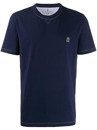 Brunello Cucinelli contrast stitching T-shirt - Azul
