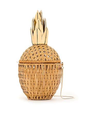 Serpui Clutch de palha Abacaxi - Amarelo
