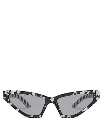 077de6d5a65a8 Prada Monochrome Camo Cat Eye Acetate Sunglasses - Womens - Black