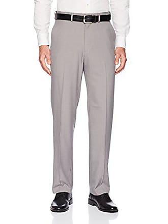 Haggar Mens Premium Comfort Classic Fit Flat Front Expandable Waist Pant, Grey, 36Wx32L