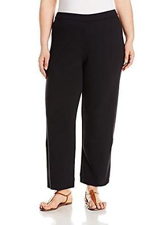 Joan Vass Womens Ankle Stretch Interlock Pant, Black, XL