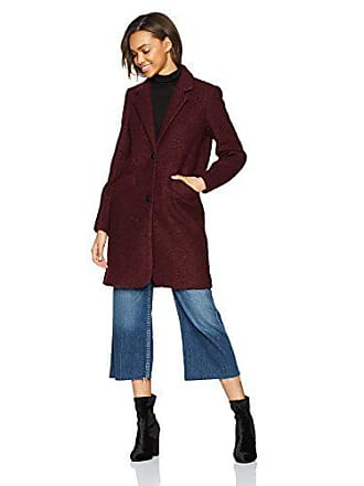 Andrew Marc Womens Paige Pressed Boucle Jacket, Burgundy, 10
