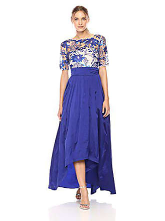 652486133c40 Adrianna Papell Womens Short Sleeve Floral Lace Hi Lo Gown with Taffeta  Skirt, Royal/