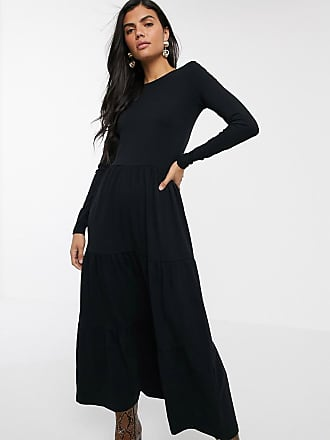 Warehouse tiered dress with scoop back in black